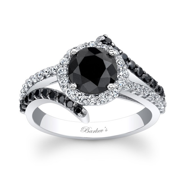 ring rings wedding engagement white three diamond black qrtr and stone wb gold