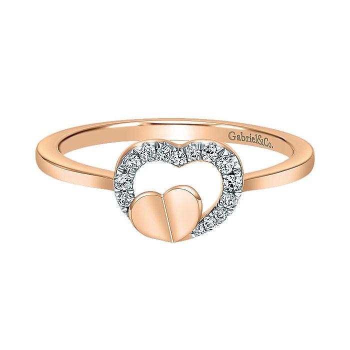 14k Pink Gold Diamond Fashion Ladies\' Ring - Rings - Jewelry