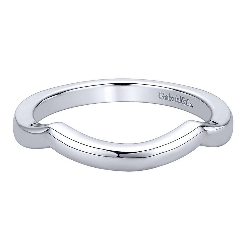 Wedding Band 14k White Gold Curved Womens Wedding Bands Engagement