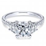 14K White Gold Diamond 3 Stone Cushion Cut ANd Pave Band 14K White Gold Engagement Ring ER9044W44Jj