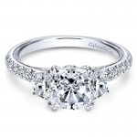 14K White Gold Diamond 3 Stones 14K White Gold Engagement Ring ER9186W44Jj