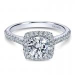 14K White Gold Diamond Halo ANd French Pave Shank 14K White Gold Engagement Ring ER8152W44Jj