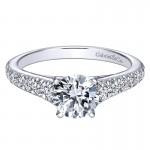 14K White Gold Graduating Pave Diamond On Straight Band 14K White Gold Engagement Ring ER8259W44Jj