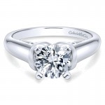 14K White Gold Round Solitaire 14K White Gold Engagement Ring ER9025W4Jjj