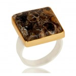 Fossil Agate Ring In Mixed Metal