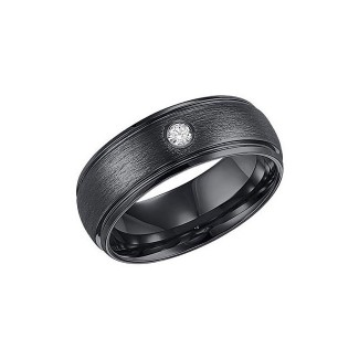 Triton 8mm Black Tungsten Carbide Domed With Rims Wire Brush Comfort Fit Diamond Band 22-4130