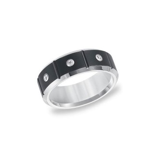 Triton Black And White Tungsten Carbide Men'S Band 22-4336