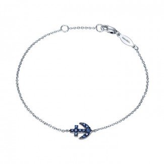 14k White Gold And Sapphire Chain Bracelet