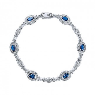 14k White Gold Diamond And Sapphire Tennis Bracelet
