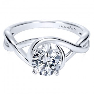 14K White Gold Polished Criss Cross With Four Prong Setting 14K White Gold Engagement Ring ER9179W4J
