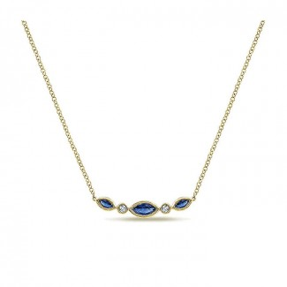 14k Yellow Gold Diamond And Sapphire Bar Necklace
