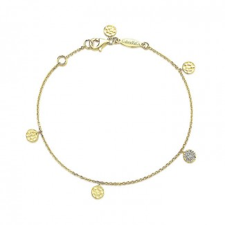14k Yellow Gold Diamond Circle Charm Chain Bracelet