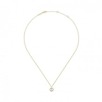 14k Yellow Gold Diamond Pearl Fashion Necklace