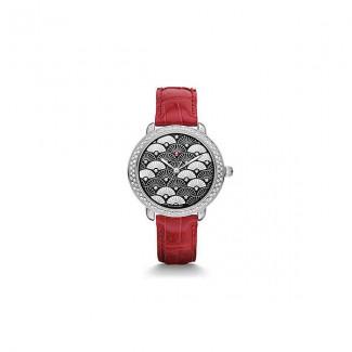 Serein 16 Diamond, Black Fan Diamond Dial Garnet Alligator Watch