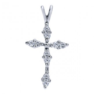 14k White Gold Diamond Cross Cross Pendant