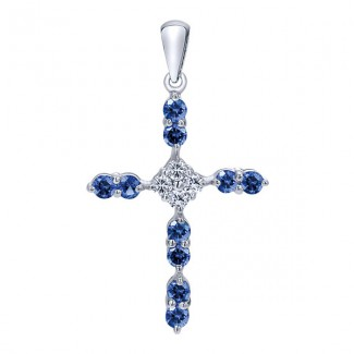 14k White Gold Diamond  And Sapphire Cross Cross Pendant