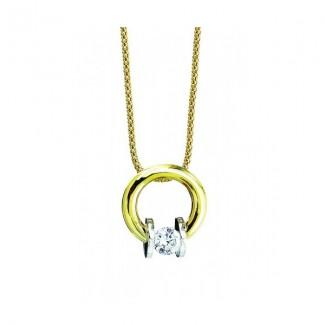 Gelin Abaci 14k White and Yellow Gold Diamond Pendant TN-005