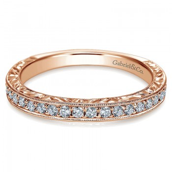 Wedding Band 14k Pink Gold Diamond