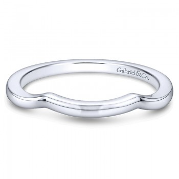Wedding Band 14k White Gold Curved