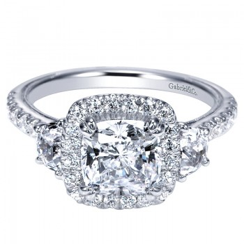 Engagement Ring 14k White Gold Diamond 3 Stones Halo