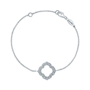 14k White Gold Diamond Chain Bracelet