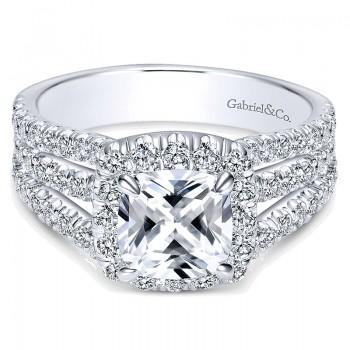 14K White Gold Diamond Cushion Cut Halo Triple Pave 14K White Gold Engagement Ring ER8903W44Jj