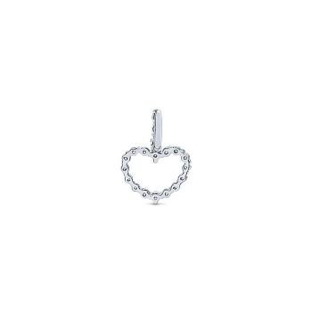 14k White Gold Diamond Heart Heart Pendant