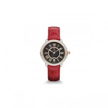 Serein 16 Diamond Two-Tone Rose Gold, Black Diamond Dial Garnet Alligator Watch