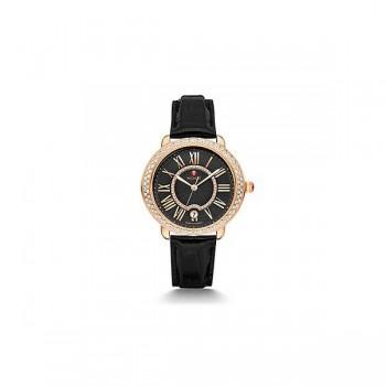 Serein 16 Diamond Rose Gold, Black Diamond Dial Black Alligator Watch