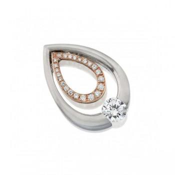 Gelin Abaci 14k White and Rose Gold Diamond Pendant TN-052