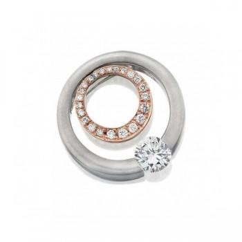 Gelin Abaci 14k White and Rose Gold Diamond Pendant TN-053