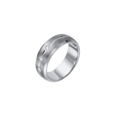 Triton 8mm Tungsten Carbide Bevel Edge Brush Finish Comfort Fit Diamond Band 22-2929-G