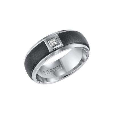 Triton Black And White Tungsten Carbide Men'S Band 22-4328