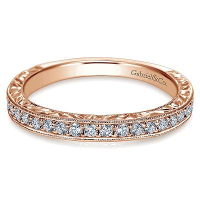 Wedding Band 14k Pink Gold Diamond