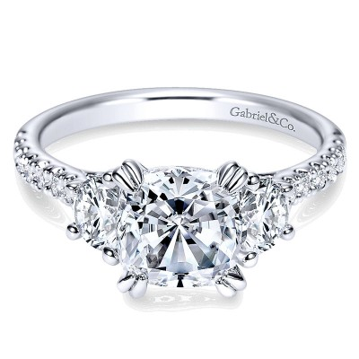 14K White Gold Diamond 3 Stone Cushion Cut ANd Pave Band 14K White Gold Engagement Ring ER9044W44Jj