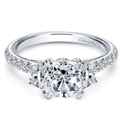 14K White Gold Diamond 3 Stones 14K White Gold Engagement Ring ER9186W44Jj