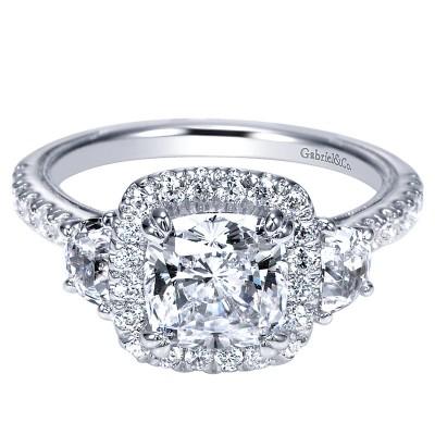 Engagement Ring 14k White Gold Diamond 3 Stones Halo