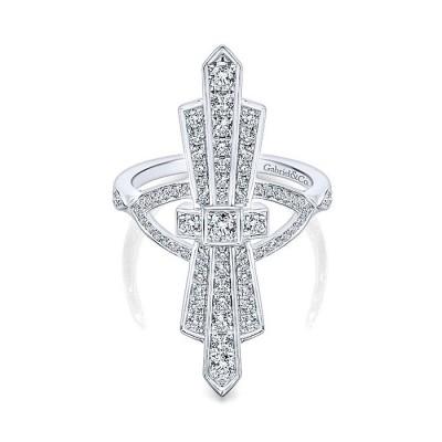 14k White Gold Diamond Fashion Ladies' Ring