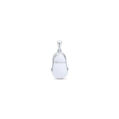 14k White Gold Diamond Pink Sapphire Charm Pendant