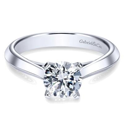14K White Gold Solitaire Knife Edge 14K White Gold Engagement Ring ER8296W4Jjj