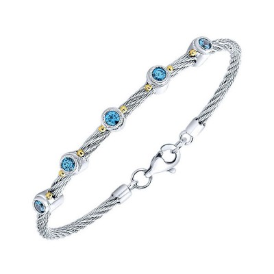 Bracelet 3 Or More Metals Mixed Swiss Blue Topaz Bangle Bracelet