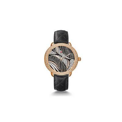 Serein 16 Diamond Rose Gold, Willow Diamond Dial Black Leather Watch