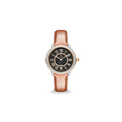 Serein 16 Diamond Two-Tone Rose Gold, Black Diamond Dial Rose Saffiano Watch