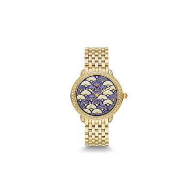 Serein 16 Diamond Gold, Blue Fan Diamond Dial Watch