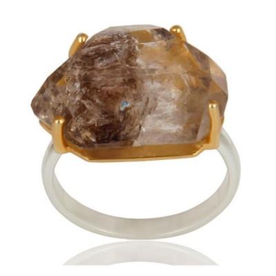 Herkimer Diamond Ring In Mixed Metal