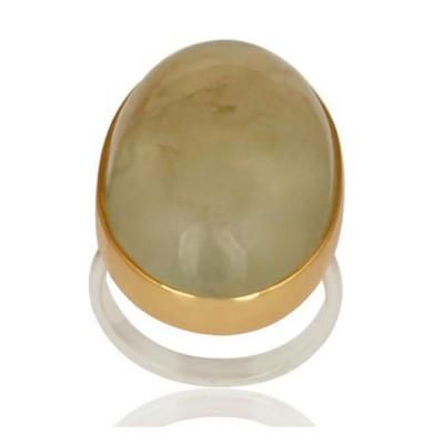 Oval Prehnite Ring In Silver + Gold