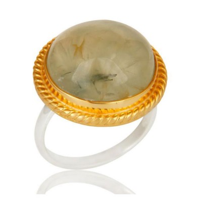 Cabochon Prehnite Ring In Mixed Metal