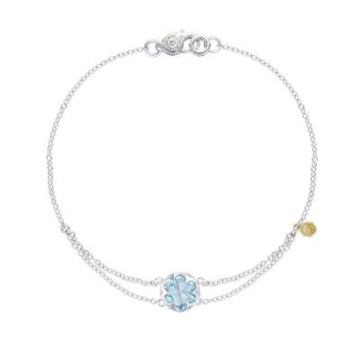 Petite Split Chain Bracelet featuring Sky Blue Topaz