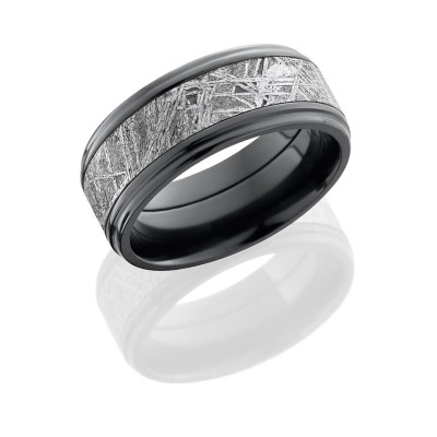 Lashbrook Zirconium 9mm Flat Band With Grooved Eges With 5mm Meteorite Center Z9FGE15/METEORITE