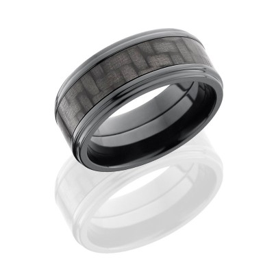Lashbrook Zirconium 9mm Flat Band With 5mm Of Carbon Fiber And Grooved Edges ZC9FGE15/CF